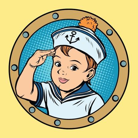 Child sailor ship kids game retro vector pop art retro style. Boy sailor retro. Captain vector