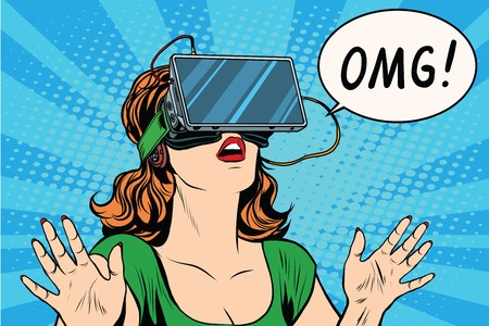 OMG emotions from virtual reality retro girl pop art retro vector. Woman using the virtual reality headset. vr glasses girl