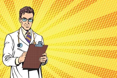 Illustration pour Doctor pop art retro vector. Portrait Of A Confident Mature Doctor. Doctor with a stethoscope. Bypassing doctor, diagnosis - image libre de droit