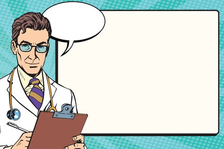 Medicine doctor health background vector pop art retro vector. The medical profession