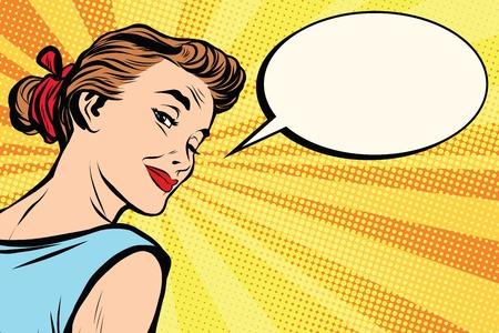 Foto für Beautiful retro girl asks pop art retro vector. a woman communicates. Comic text bubble - Lizenzfreies Bild