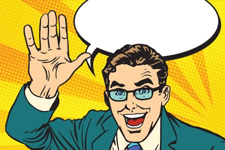 Ilustración de hands giving a high five for great work pop art retro vector. Joyful businessman. Good job concept - Imagen libre de derechos