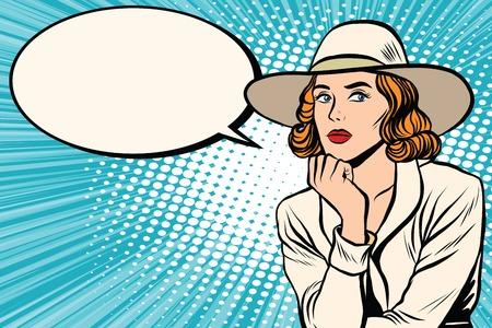 Illustration pour Retro lady thinks pop art retro vector. Pop art retro people. Pretty girl in wide-brimmed hat. Retro wide-brimmed hat - image libre de droit
