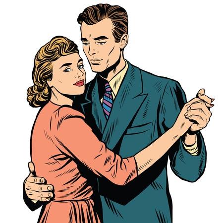 Retro man and woman dancing pop art retro vector. Slow dance. A couple dancing the waltz