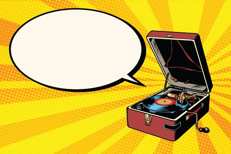 Phonograph vinyl record player pop art retro vector. Music audio hit. Retro audio equipment