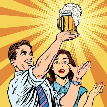 Ilustración de Triumph beer festival bar pub man and woman pop art retro vector. Mug of beer on the podium - Imagen libre de derechos