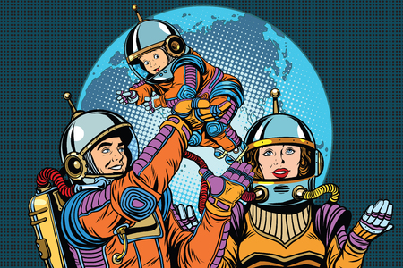 Retro astronauts family dad mom and child pop art retro vector. The future of humanity. International day of families.