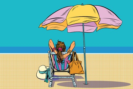 Illustration pour Girl in a deckchair on the beach pop art retro vector. The rest of the sea. Travel and tourism - image libre de droit