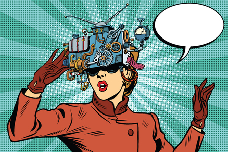 Illustration pour Virtual reality glasses retro girl science fiction, pop art vector. Futuristic mechanism of virtual reality - image libre de droit
