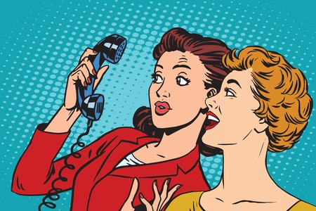 Illustration pour Two girlfriends and a telephone pop art retro vector. Retro smartphones and communication - image libre de droit