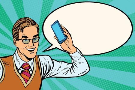 Illustration pour Joyful businessman with smartphone close-up pop art retro vector - image libre de droit