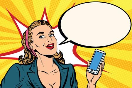 Illustration pour Businesswoman with smartphone in hand pop art retro vector. Successful girl. Retro business people - image libre de droit