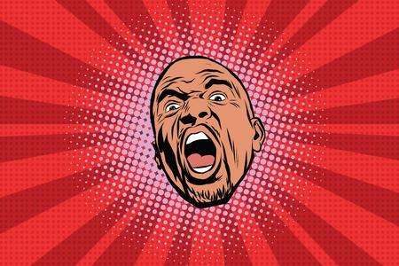 Illustration pour Flashy black man head pop art pop art retro vector. African American comic style - image libre de droit