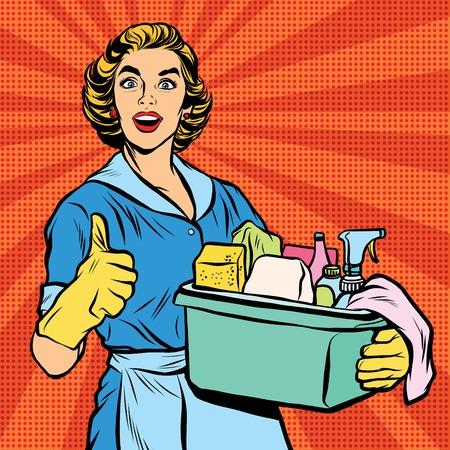 Ilustración de Quality home cleaning, housewife. Pop art retro vector, realistic hand drawn illustration.Professional service - Imagen libre de derechos