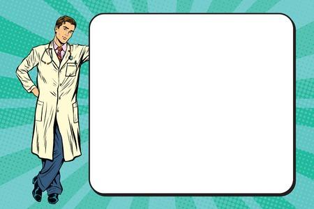 Ilustración de Doctor of medicine next to a poster pop art retro vector, realistic hand drawn illustration. - Imagen libre de derechos