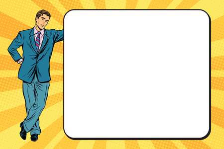 Business man next to a poster pop art retro vector, realistic hand drawn illustration.