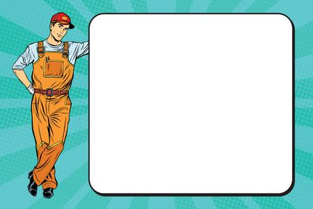 Illustration pour Male mechanic next to the poster pop art retro vector, realistic hand drawn illustration. - image libre de droit