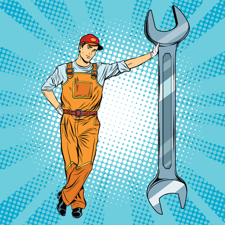 Illustration pour Mechanic with a wrench pop art retro vector, realistic hand drawn illustration. Repair of motor vehicles, motorcycles and mechanisms - image libre de droit