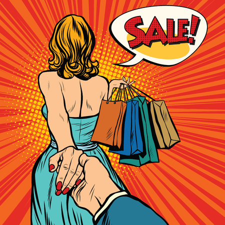 Illustration for Follow me, young woman leads a man on a shopping. pop art retro vector. Discounts and sales - Royalty Free Image