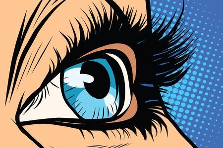 Illustration pour Close-up of female eyes pop art retro vector. Beauty woman - image libre de droit