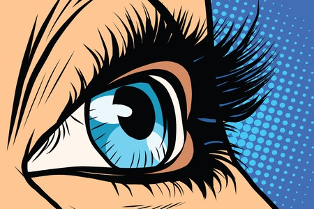 Close-up of female eyes pop art retro vector. Beauty woman