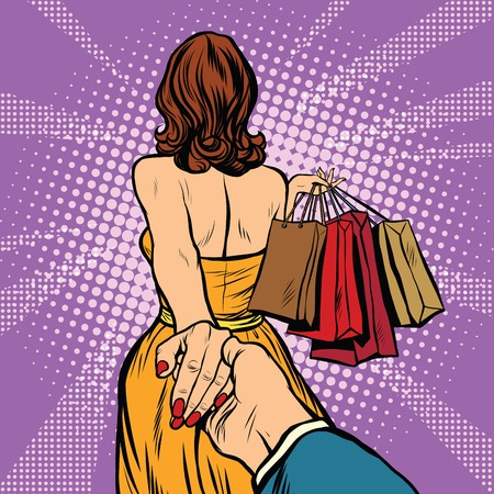 Follow me, young woman leads a man on a shopping. pop art retro vector. Discounts and sales