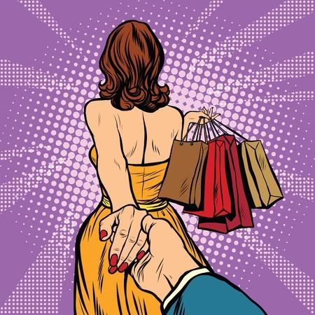 Illustration pour Follow me, young woman leads a man on a shopping. pop art retro vector. Discounts and sales - image libre de droit
