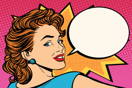 Illustration pour Happy pop art retro woman close-up face vector illustration - image libre de droit