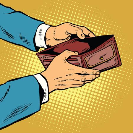 Illustration pour Empty wallet, no money pop art retro vector illustration. Finance and poverty - image libre de droit