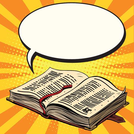 Illustration pour Old book and comic bubble pop art retro vector illustration. The Bible and religion - image libre de droit