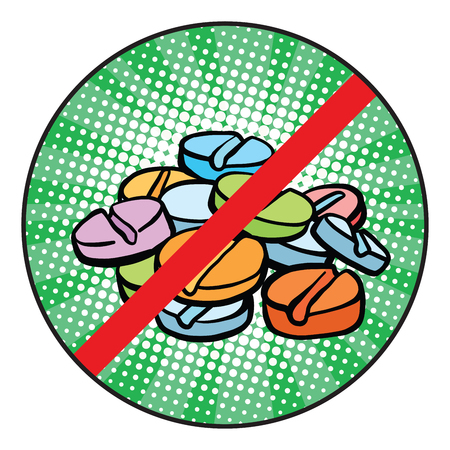 Stop doping sign icon pop art retro comic book vector illustration