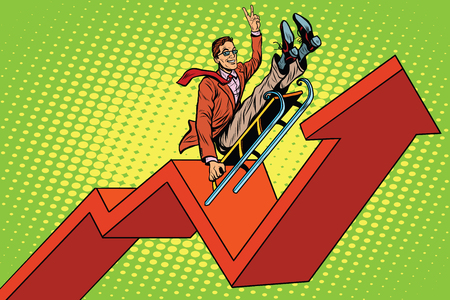 Businessman on a sled, up arrow chart sales, pop art retro vector illustration