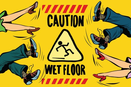 caution wet floor, the feet of women and men, people fall pop art retro vector illustration