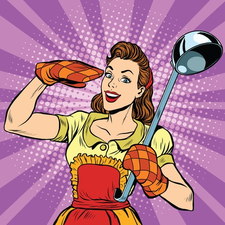 Illustration for Retro housewife in kitchen, pop art  vector illustration. Cooking and food - Royalty Free Image