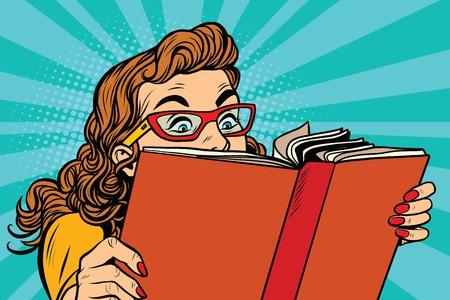 Illustration pour Young lady reading a book, pop art retro vector illustration. Interesting reading - image libre de droit