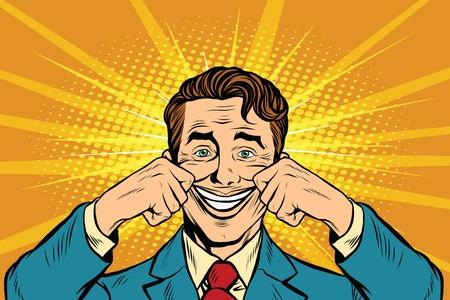 Ilustración de businessman smiling falsely, pop art retro vector illustration. False emotions - Imagen libre de derechos
