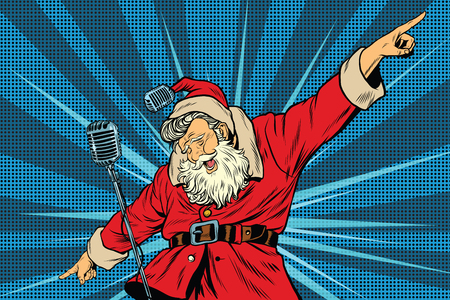 Photo pour Santa Claus superstar singer on stage, pop art retro vector illustration. Holidays New year and Christmas. Concerts and parties - image libre de droit