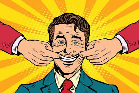 Ilustración de Man forced to smile, pop art retro vector illustration. False emotions - Imagen libre de derechos