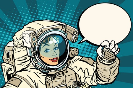 OK gesture female astronaut in a spacesuit, pop art retro vector illustration, science and research