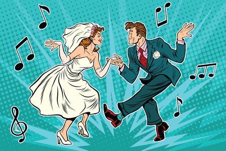 Illustration pour dancing bride and groom, pop art retro comic book illustration. Wedding dance. Twist, rock and partner dance - image libre de droit