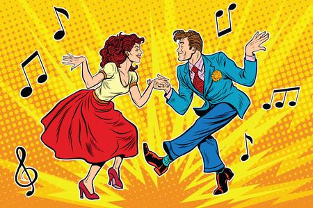Illustration pour couple man and woman dancing, vintage dance, pop art retro comic book illustration - image libre de droit