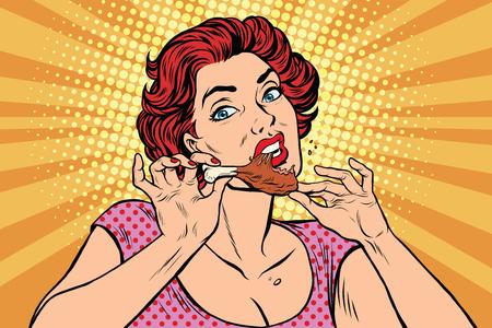 Illustration pour Woman eating a chicken leg, pop art retro comic book illustration. Restaurant and fast food, homemade food - image libre de droit