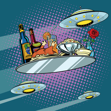 Ilustración de Flying a dinner tray and UFO, pop art retro vector illustration. Delicious food. Science fiction - Imagen libre de derechos
