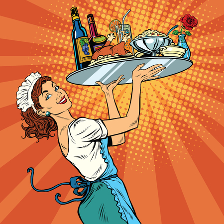 Illustration pour Beautiful young woman waitress in a restaurant, pop art retro vector illustration. Tray holiday dinner - image libre de droit