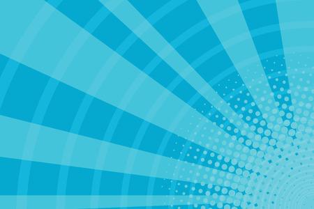 Illustration pour Blue cartoon light rays pop art retro background, vector illustration - image libre de droit