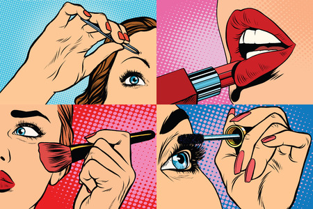 Illustration pour Set of makeup and cosmetic beauty woman, pop art retro vector illustration. Lips, eyes, eyebrows and skin - image libre de droit