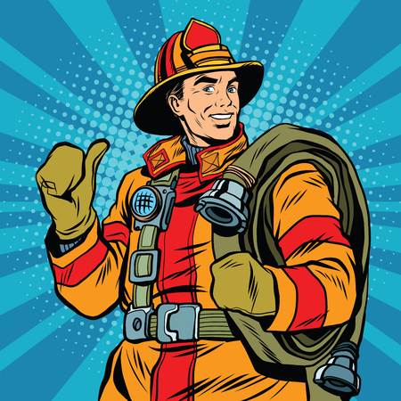 Rescue firefighter in safe helmet and uniform, pop art retro vector illustration