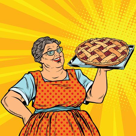 Vektor für Old joyful retro woman with berry pie, pop art vector illustration. Family dinner and celebration - Lizenzfreies Bild