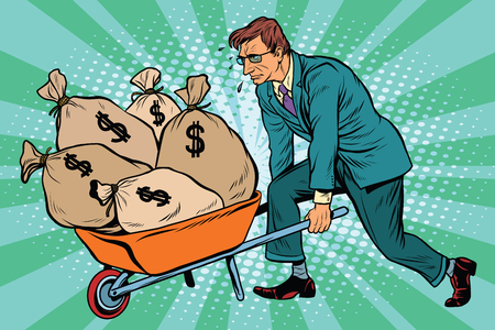 Illustration for Businessman wheel heavy garden cart with money, pop art retro vector. Business and Finance - Royalty Free Image