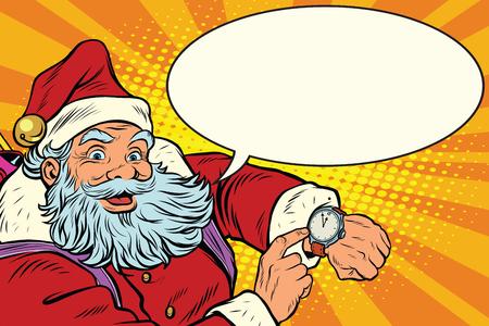 Ilustración de Santa Claus shows on the clock, New year and Christmas, pop art retro illustration. Comic bubble - Imagen libre de derechos